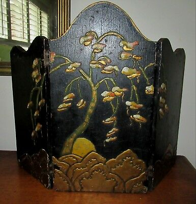 Vintage Small ART DECO Black ASIAN Chinese Wood Compo Painted Table Screen 1920s