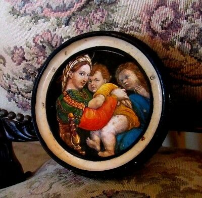"""1900c > ICON """"MOTHER w/BABY JESUS and CHILD"""" in Circular Wood Beveled Frame"""