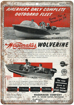 """Wagemakes Wolverine Boat January 1952 Ad 12"""" x 9"""" Retro Look Metal Sign L19"""