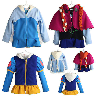 Girls Kids Disney Frozen Elsa Anna Princess Costume Outerwear Hooded Coat Jacket