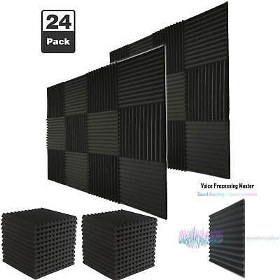 "24 Pack Acoustic Foam Soundproof Tiles Charcoal Studio Wedge Panels 1""x 12""x 12"""