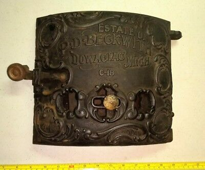Vintage P. D. Beckwith Dowagiac Michigan Ornate Heavy Cast Iron Wood Stove Door