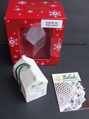 Belleek Old Schoolhouse 25th Anniversary Bell Ornament Made Ireland New in Box