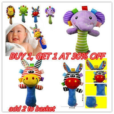 Boys Girls Newborn Baby Soft Sound Animal Plush Handbells Squeeze Rattle Toy UK