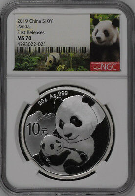 NGC MS70 2019 China 30g Silver Panda Coin First Releases #07