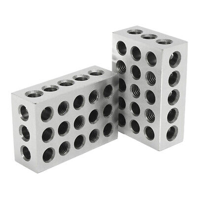 "1 Pair Hardened 1-2-3 Block Set 0.0002"" Precision 23 Holes, Carbon Steel"