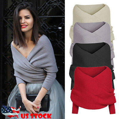 US STOCK Womens Off Shoulder Cross Wrap Sweater Short Blouse Tops Scarf Pullover