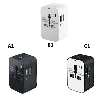 World Wide Travel Universal Adapter Converter With Dual USB Charger Multi Plug