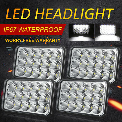 "DOT 4""x6"" White Clear LED Sealed Headlights Light Bulbs Replace H4656/4651 Set 4"