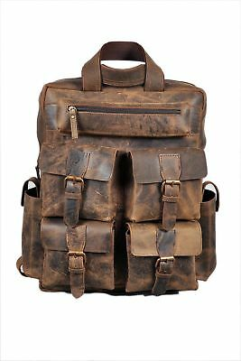 b016ff3cfa Men s Real Leather Backpack Laptop Bag Large Hiking Travel Camping Carry On  New