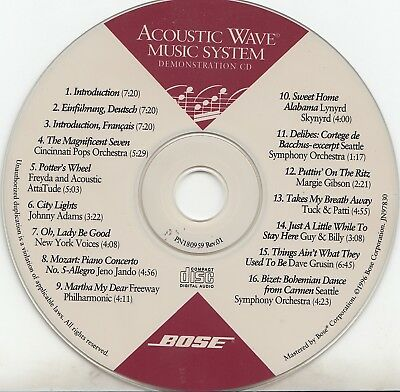 Bose Acoustic Wave Music System Demonstration 1996 CD-Disc Only