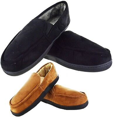 Mens Winter Indoor Bedtime Slipper Gent Warm Faux Fur Lined Flat Shoes Size 7-11