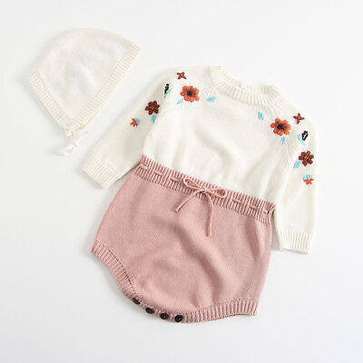 Infant Newborn Baby Girls Flower Knit Romper Bodysuit+Hat Clothes Outfits Set BF