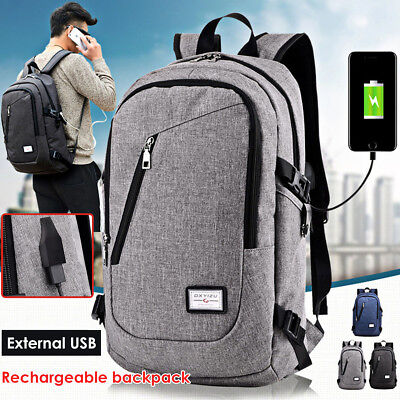 bef0029132 Anti-theft Mens Womens USB Charging Backpack Laptop Notebook Travel School  Bag