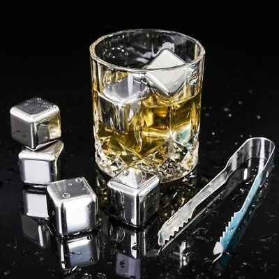4/6/8 x Stainless Steel Wine Whiskey Drink Chiller Stones Rocks Ice Balls Cubes