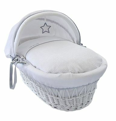 Clair de Lune White Wicker Moses Basket Silver Lining Suitable From Birth