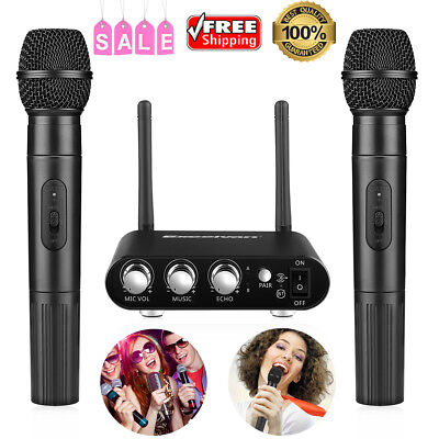 Pro UHF Dual Wireless K38 Microphone Bluetooth APP 10 Channel Mic + Receiver Box