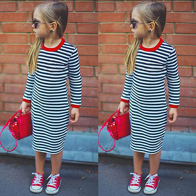 Toddler Baby Kids Girls Striped Slim Dress Fashion Long Sleeve Clothes Outfits