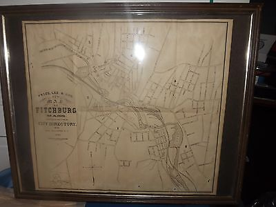 Antique Geo Raymond C.e 1878 Price, Lee & Co's New Map Fitchburg Ma Lithograph