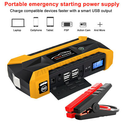 89800mAh Car Jump Starter Pack Booster LCD 4 USB Charger Battery Power Bank