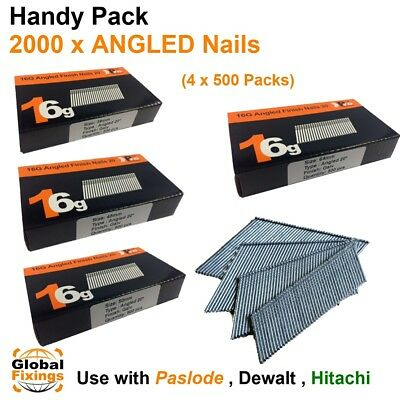 2000 mixed pack- size 38mm,45mm,50mm, 63mm 16g ANGLED 20° - for Dewalt, Paslode