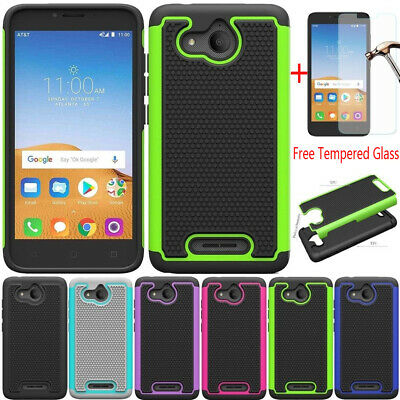 For Alcatel Tetra Shockproof Rugged Rubber TPU Bumper Case Cover+Tempered Glass