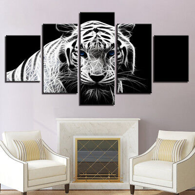 3D BLUE EYED White Tiger Framed Poster 5 Panel Canvas Print Wall Art Home  Decor