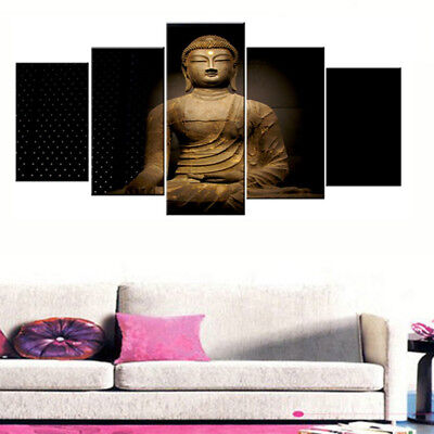Vintage Buddha Mindfulness Framed 5 Panel Canvas Print Wall Art Poster Decor