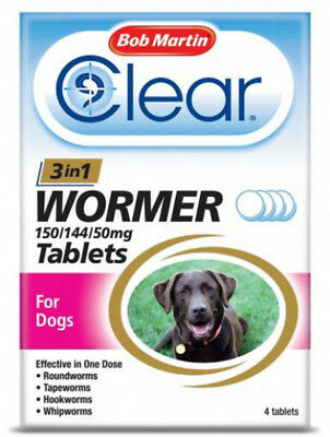 Bob Martin Clear 3-In-1 Wormer 4 Tablets for Dogs 3kg to 40kg Dewormer FREEPOST