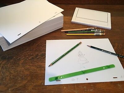 Animation Paper Bundle - 1000 punched A4 Sheets, Storyboard Pad, Pegbar, Pencils