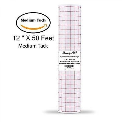 """Vinyl Transfer Paper Tape Roll 12"""" x 50 FT Clear w/Red Alignment Grid 