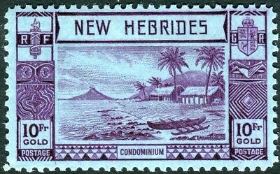 NEW HEBRIDES-1938 10f Violet Blue.  A mounted mint example Sg 63