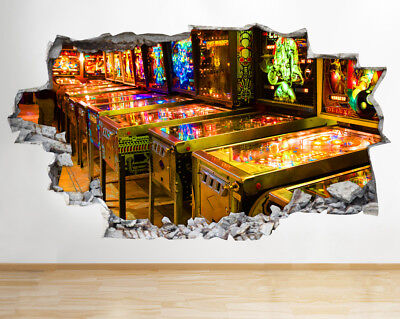 BB329 Gaming Arcade Retro Arcade Smashed Wall Decal 3D Art Stickers Vinyl Room