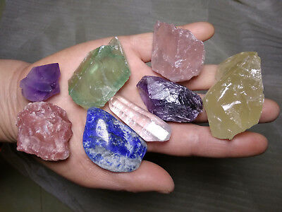 Large Chakra Stones Set 7 Rough Crystals and 1 free stone 1/2 Lb (230 grams)