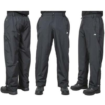 Trespass Mens Corvo Waterproof Over Trousers Mesh Lined Taped Seams Black Pants