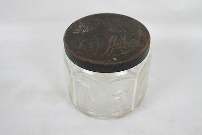 Antique Vintage Clear Glass Shaving Cream Jar Embossed Barbasol Black Metal Lid