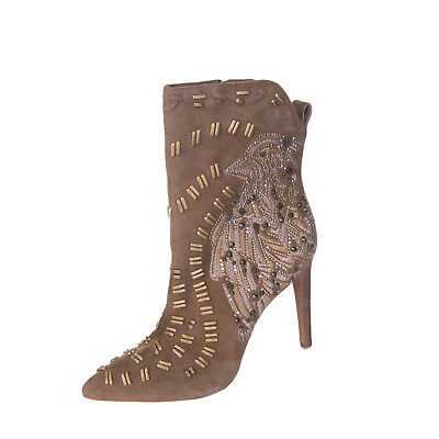 86cde56c5f551 SAM EDELMAN Leather Ankle High Heel Boots Size 38 UK 5 Embroidered RRP €329