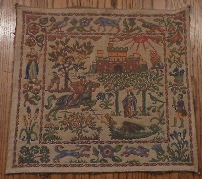antique early tapestry wall hanger St George slaying the dragon fabric