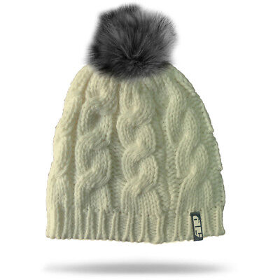 509 Womens Ladies Fur Pom Creme Beanie Cold Weather Cable Knit Cap Hat -One Size