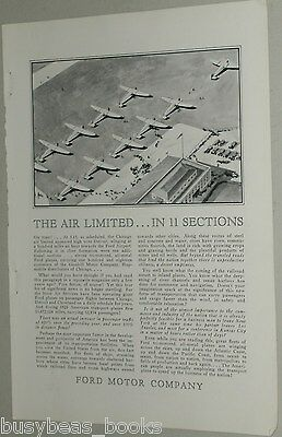 1929 FORD TRI-MOTOR advertisement, early air travel, Ford Airplane, Airport