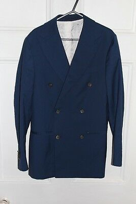 suit supply super 120 wool blazer blue UK 35 EUR 44 mens boys Guabello small