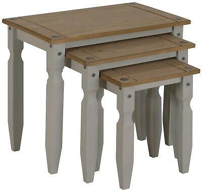Corona Nest of Tables Grey Wax Piccolo Solid Pine by Mercers Furniture®