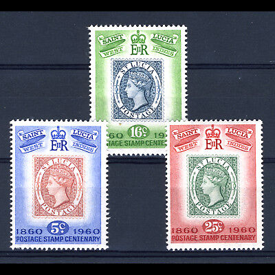 ST LUCIA 1960 Stamp Centenary. SG 191-193. Mint Never Hinged. (BH317)