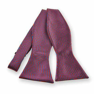 TieMart Red Kimberly Chevron Stripe Self-Tie Bow Tie