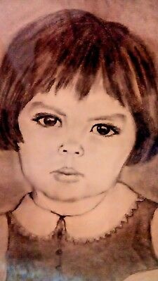 Large Wood Framed Mid Century Charcoal Drawing Little Girl Art Vintage Picture