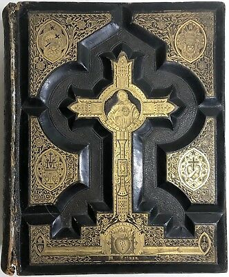 1880 Catholic Holy Bible German Illustrated Fine Leather Binding Dore Unmarked