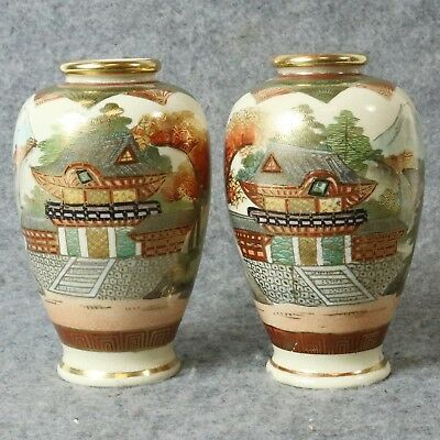 Pair of Mini Japanese Satsuma Vases Artist Signed Shimazu Clan Meiji Era Mt Fuji