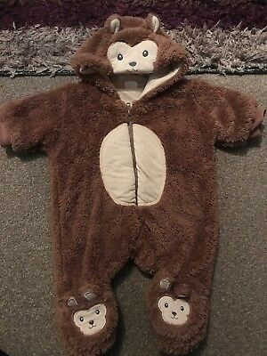 Baby Boy Newborn Monkey Fleece Snowsuit, Winter All In One Coat