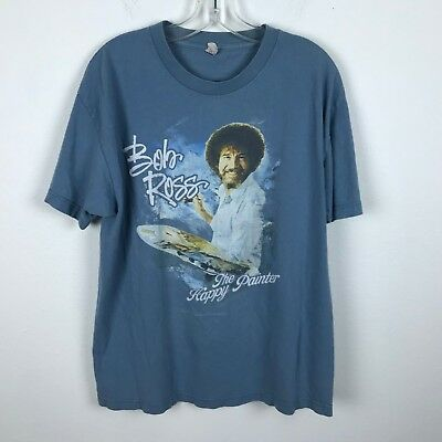 Vintage Bob Ross Shirt The Happy Painter Blue Size L Cotton Short Sleeve