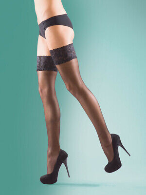 Silky Super Shine Lace Top Sheer Hold Ups, Plus Size Thigh Highs, XL Stay Ups